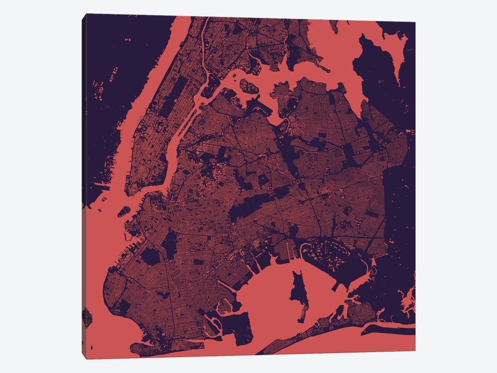 New York City Urban Map (Purple Night) by Urbanmap 1-piece Art Print