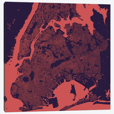 New York City Urban Map (Purple Night) Canvas Print #ESV241} by Urbanmap Canvas Print