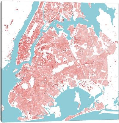 New York City Urban Map (Red) Canvas Art Print