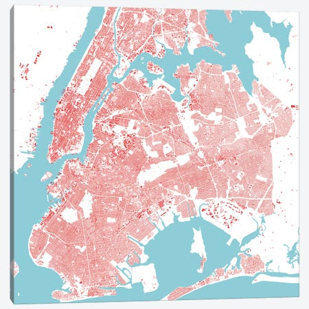 New York City Urban Map (Red) Canvas Print #ESV242} by Urbanmap Canvas Art Print