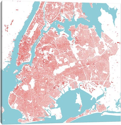 New York City Urban Map (Red) Canvas Art Print