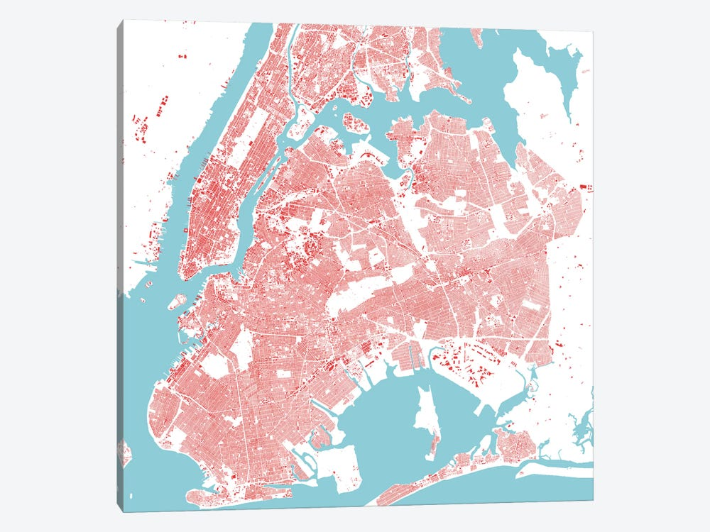 New York City Urban Map (Red) by Urbanmap 1-piece Canvas Artwork