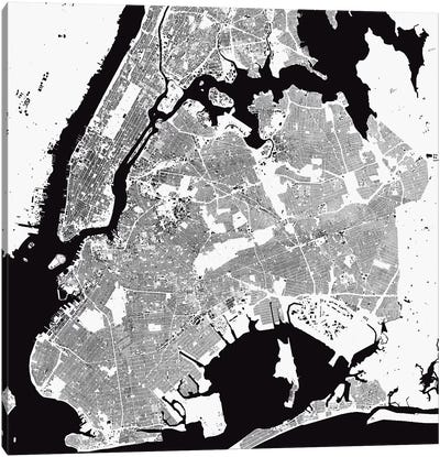 New York City Urban Map (White) Canvas Art Print