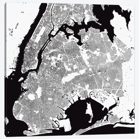 New York City Urban Map (White) Canvas Print #ESV243} by Urbanmap Art Print