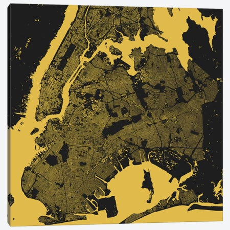 New York City Urban Map (Yellow) Canvas Print #ESV244} by Urbanmap Canvas Artwork