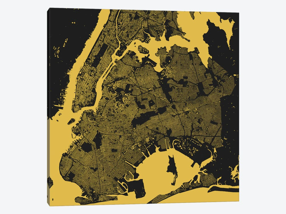 New York City Urban Map (Yellow) by Urbanmap 1-piece Canvas Artwork