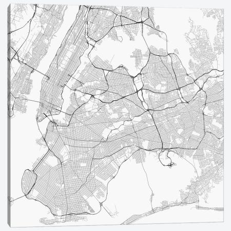 New York City Urban Roadway Map (White) Canvas Print #ESV248} by Urbanmap Canvas Print