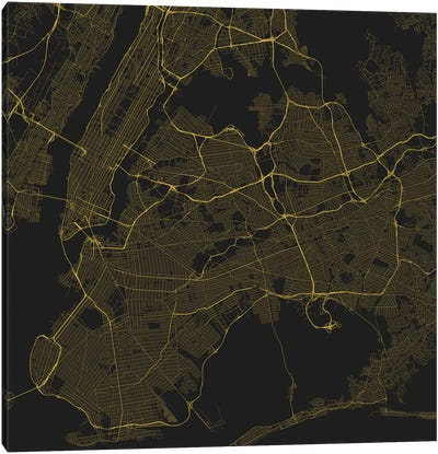 New York City Urban Roadway Map (Yellow) Canvas Art Print