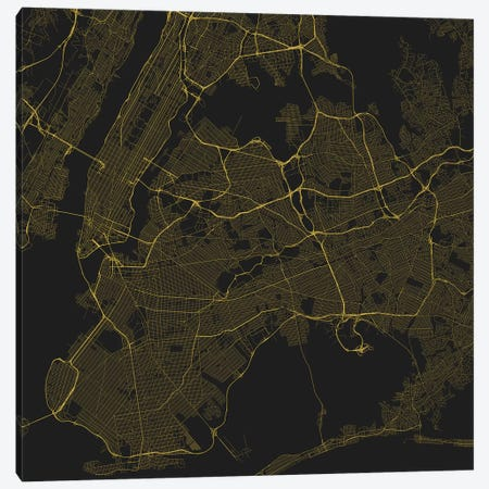 New York City Urban Roadway Map (Yellow) Canvas Print #ESV249} by Urbanmap Art Print