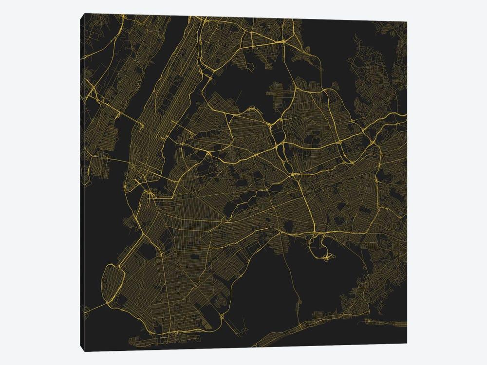 New York City Urban Roadway Map Yellow Canvas Wal Urbanmap Icanvas