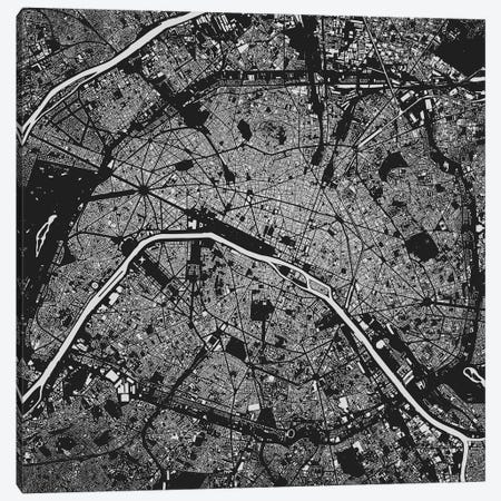 Paris Urban Map (Black) Canvas Print #ESV250} by Urbanmap Canvas Artwork
