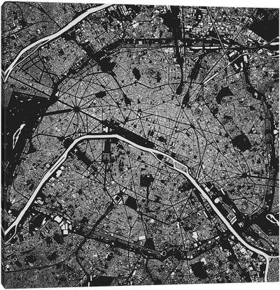 Paris Urban Map (Black) Canvas Art Print