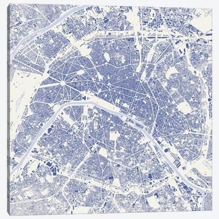 Paris Urban Map (Blue) Canvas Print #ESV251} by Urbanmap Canvas Art