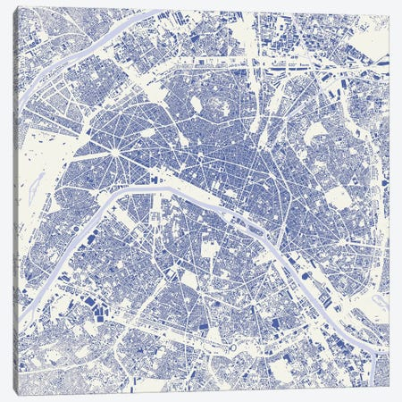 Paris Urban Map (Blue) Canvas Print #ESV251} by Urbanmap Canvas Art