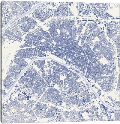 Paris Urban Map (Blue) Canvas Print #ESV251