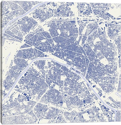Paris Urban Map (Blue) Canvas Art Print