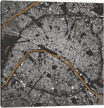 Paris Urban Map (Gold) Canvas Art Print