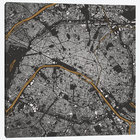 Paris Urban Map (Gold) Canvas Print #ESV252} by Urbanmap Canvas Artwork
