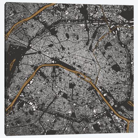 Paris Urban Map (Gold) Canvas Print #ESV252} by Urbanmap Canvas Artwork
