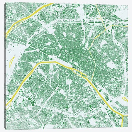 Paris Urban Map (Green) Canvas Print #ESV253} by Urbanmap Canvas Wall Art