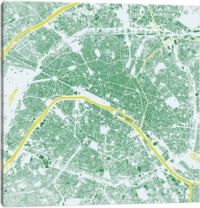 Paris Urban Map (Green) Canvas Art Print