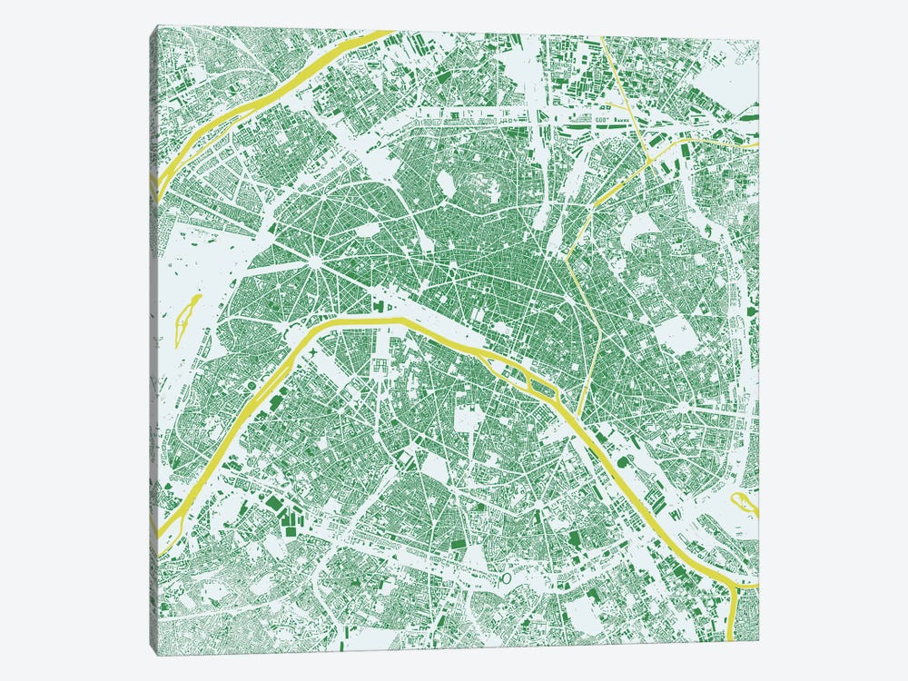 Paris Urban Map (Green) by Urbanmap 1-piece Canvas Art