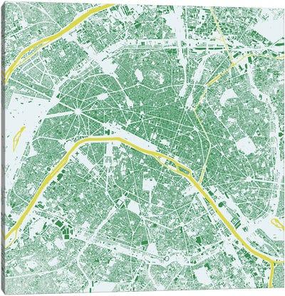 Paris Urban Map (Green) Canvas Art Print