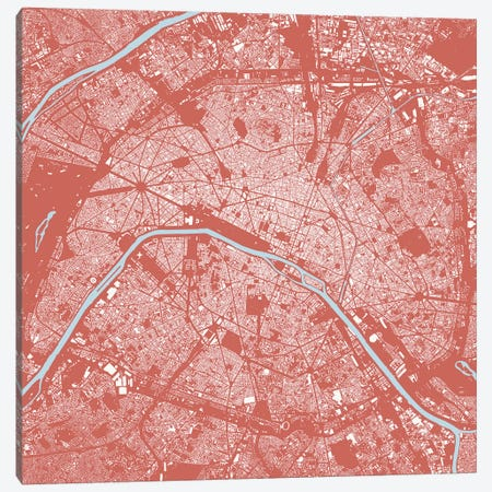 Paris Urban Map (Pink) 3-Piece Canvas #ESV254} by Urbanmap Art Print