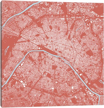 Paris Urban Map (Pink) Canvas Art Print