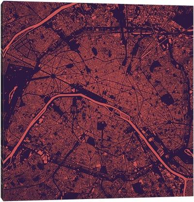 Paris Urban Map (Purple Night) Canvas Art Print