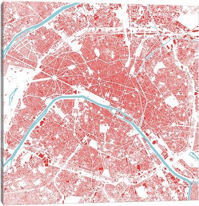 Paris Urban Map (Red) Canvas Print #ESV256