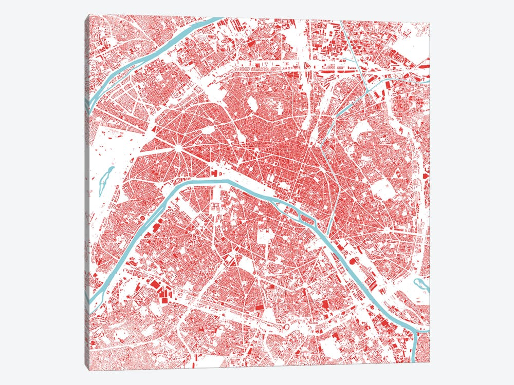Paris Urban Map (Red) by Urbanmap 1-piece Canvas Print