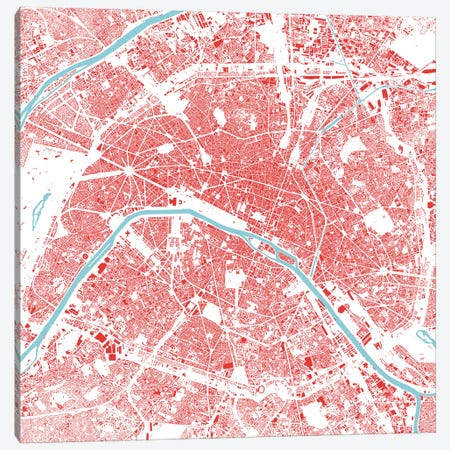Paris Urban Map (Red) 3-Piece Canvas #ESV256} by Urbanmap Canvas Art Print