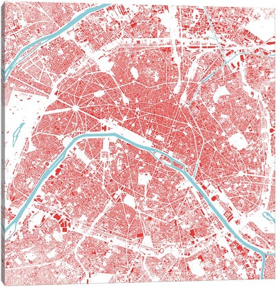 Paris Urban Map (Red) Canvas Art Print