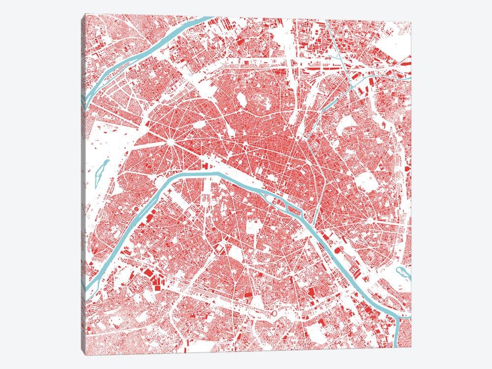 Paris Urban Map (Red) by Urbanmap 1-piece Canvas Print