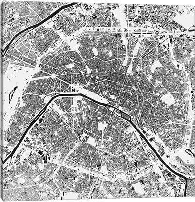 Paris Urban Map (White) Canvas Art Print
