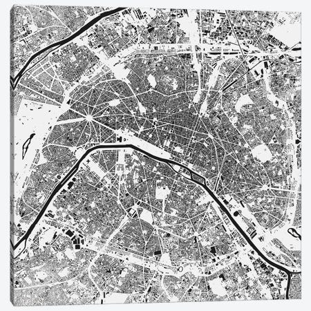 Paris Urban Map (White) Canvas Print #ESV257} by Urbanmap Canvas Print