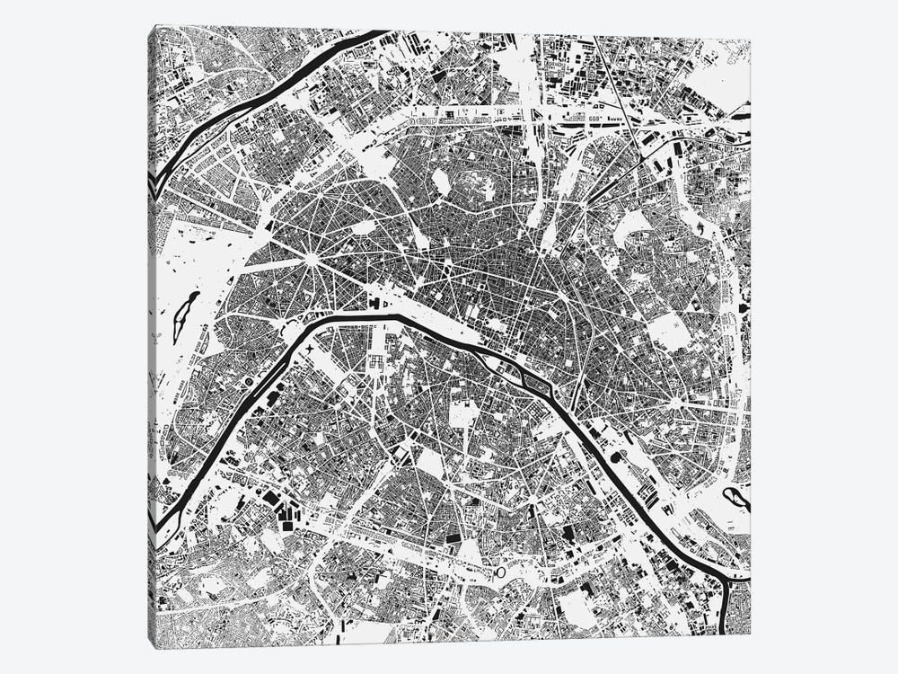 Paris Urban Map (White) by Urbanmap 1-piece Canvas Wall Art