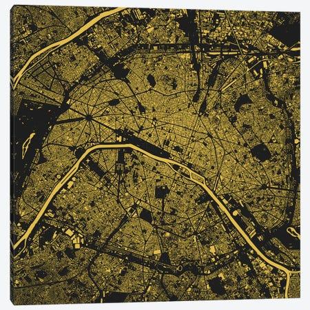 Paris Urban Map (Yellow) Canvas Print #ESV258} by Urbanmap Canvas Art