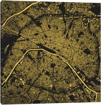 Paris Urban Map (Yellow) Canvas Art Print
