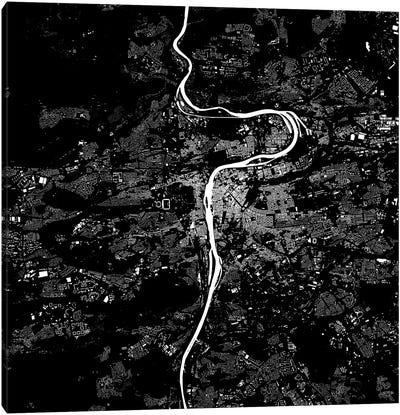 Prague Urban Map (Black) Canvas Print #ESV259