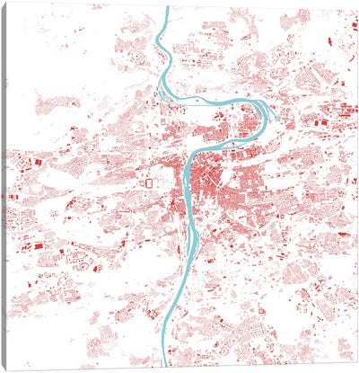 Prague Urban Map (Red) Canvas Art Print