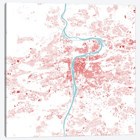 Prague Urban Map (Red) Canvas Print #ESV265} by Urbanmap Canvas Wall Art