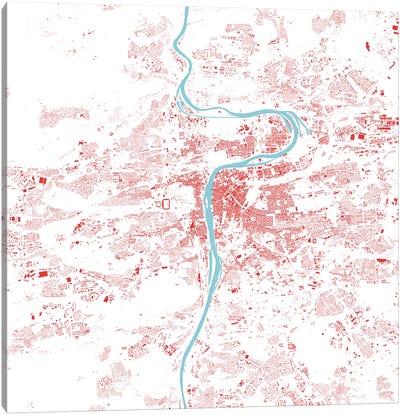 Prague Urban Map (Red) Canvas Print #ESV265