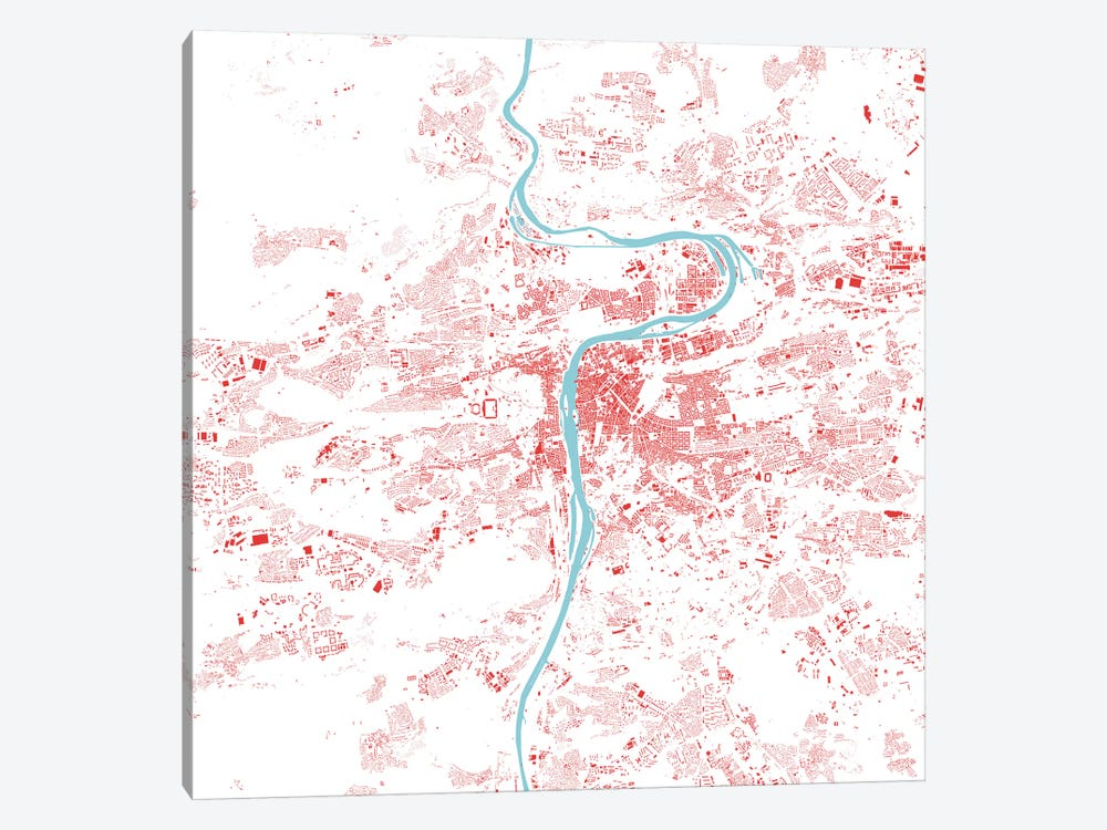 Prague Urban Map (Red) 1-piece Canvas Art Print