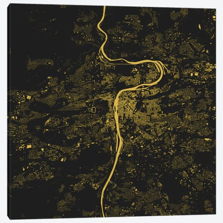 Prague Urban Map (Yellow) Canvas Print #ESV267} by Urbanmap Canvas Wall Art