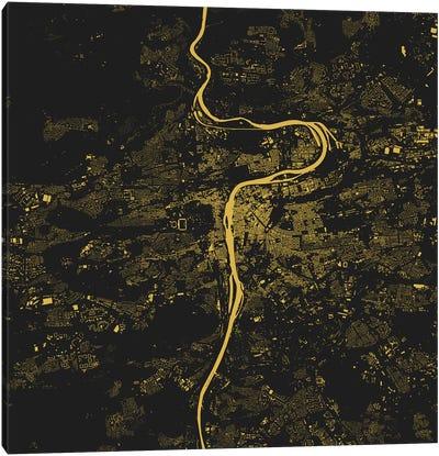 Prague Urban Map (Yellow) Canvas Print #ESV267