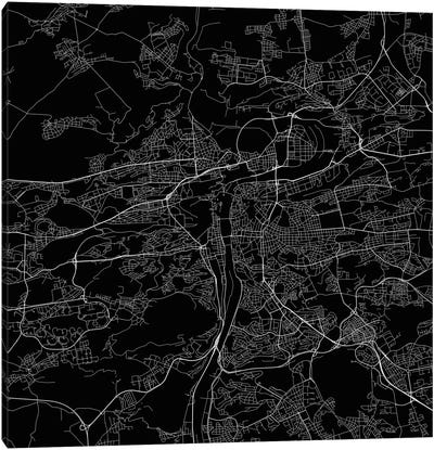 Prague Urban Roadway Map (Black) Canvas Art Print