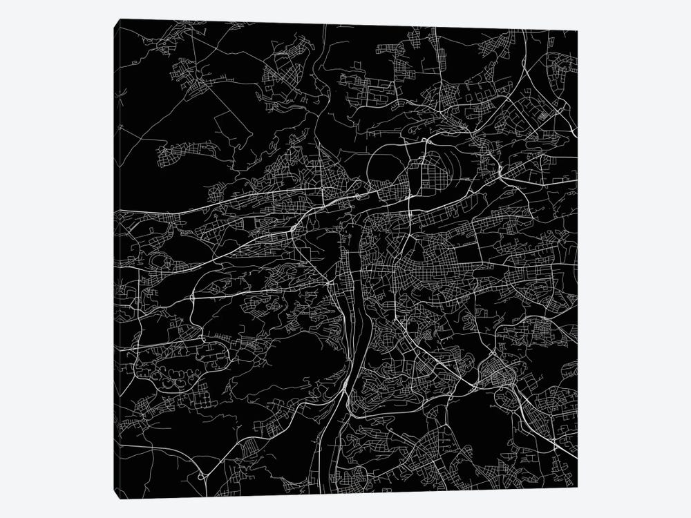 Prague Urban Roadway Map (Black) by Urbanmap 1-piece Canvas Art