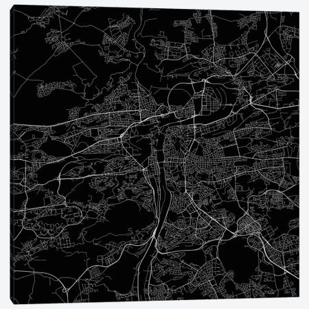 Prague Urban Roadway Map (Black) 3-Piece Canvas #ESV268} by Urbanmap Canvas Art Print